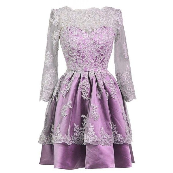 Ellames Prom Dress With Sleeves Plus Size Homecoming Short Party... (325 BRL) ❤ liked on Polyvore featuring dresses, plus size cocktail dresses, homecoming dresses, plus size homecoming dresses, purple dress and short sleeve dress