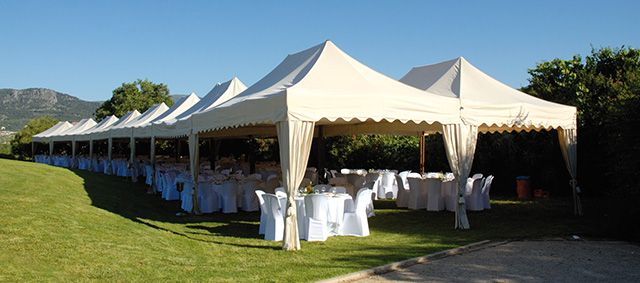 A wedding arrangement in Spain.  http://www.mastertent.com/en/tents/royal/royal-27.html
