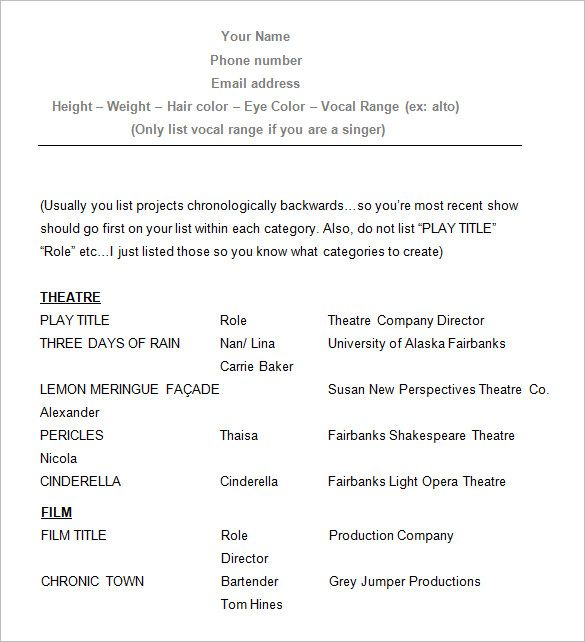 Sample Acting Resume , How To Create A Good Acting Resume Template , Acting  Resume Template  How To Make A Theatre Resume