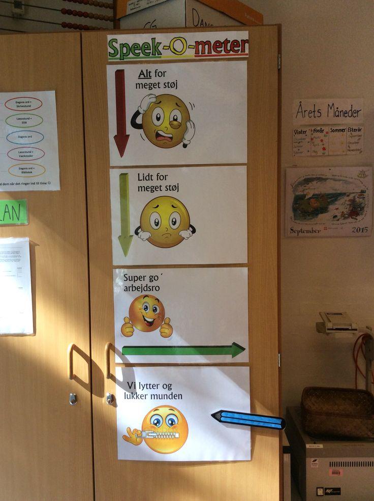 Speek-O-meter... Klassen kan i løbet af undervisningen følge med i hvordan arbejdsroen er... Fordelen er at man som lærer slipper for at bruge stemmen.... Det visuelle giver igen ro og overblik samt børnene lærer at fokusere uden at spørge....