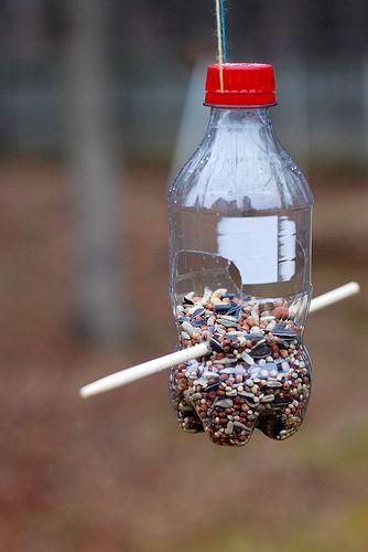 coke bottle bird feeder...fun craft for the kiddos!