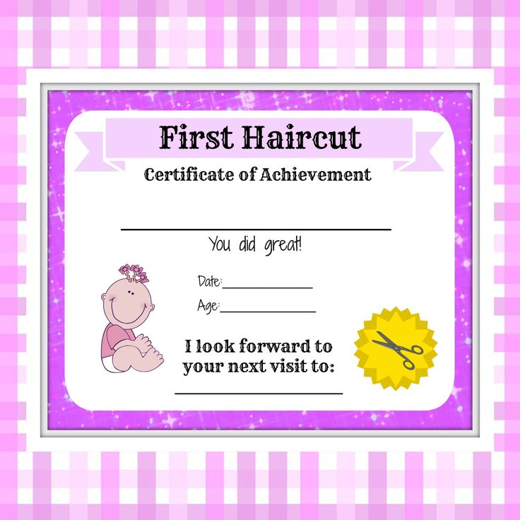 Girls First Haircut Certificate Baby First Haircut Photo