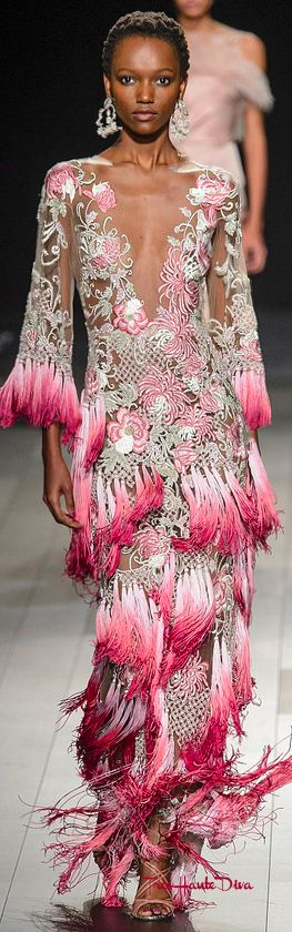 #Marchesa Spring 2018 RTW #NYFW #NYFWss18 white & pink evening gown with fringes