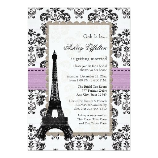 358 best pink green baby shower invitations images on pinterest parisian lilac and black bridal shower invitations stopboris Image collections