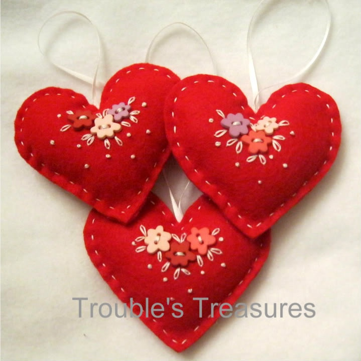 Felt Heart Ornaments by The Trouble with Crafting