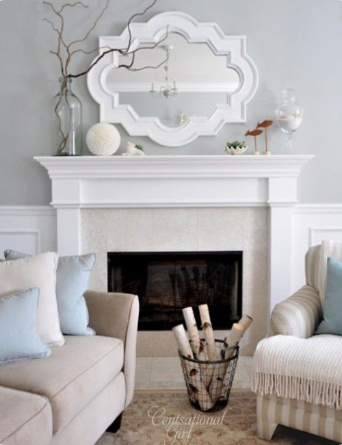 So pretty! One of the only monochromatic decors that feels warm and inviting that I've seen.   I'd like to take the mantle decor idea for my dining room sideboard.   Fireplaces