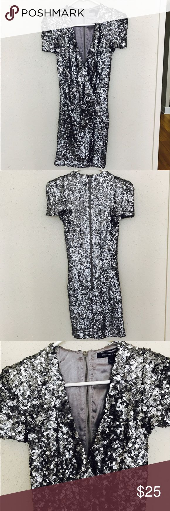 French Connection Sequin Dress french connection silver sequin mini dress. low cut but nothing fabric tape can't fix. French Connection Dresses Mini