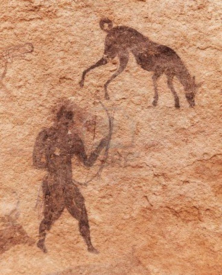 Célèbre peintures rupestres préhistoriques du Tassili n'Ajjer, Algérie Banque d'images