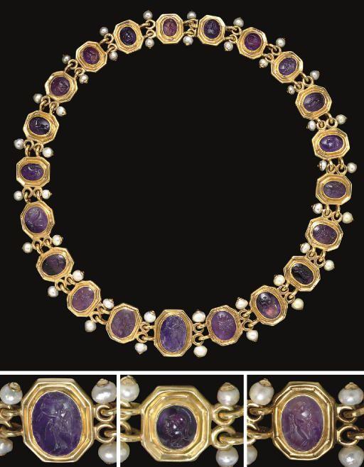 A NECKLACE OF TWENTY-ONE ROMAN AMETHYST RING STONES   CIRCA 1ST CENTURY B.C.-2ND CENTURY A.D.