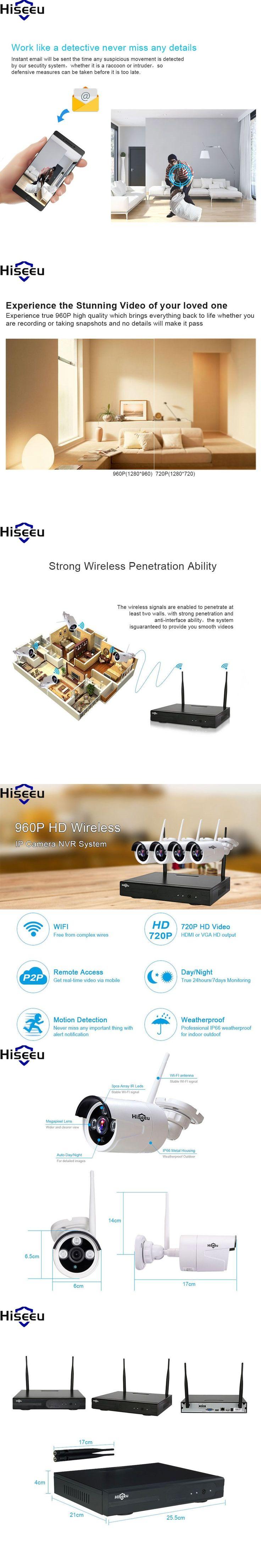 Hiseeu 4ch Powerful wifi NVR Wireless NVR IP Camera 960P Wireless CCTV System CCTV Camera Home Security System Surveillance Kit #homesurveillancecameras