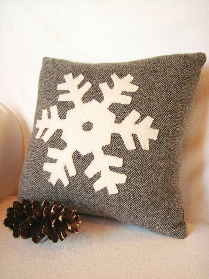 Decorative Pillow / Wool Pillow / Christmas Pillow / Snowflake Pillow / Rustic Pillow / Gray Pillow. $30.00, via Etsy.