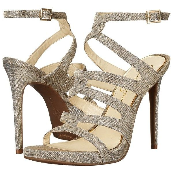 Jessica Simpson Reyse (Gold Multi Glitter Gabor) Women's Shoes (10135 RSD) ❤ liked on Polyvore featuring shoes, pumps, gold glitter pumps, jessica simpson pumps, gold open toe pumps, high heel stilettos and jessica simpson shoes