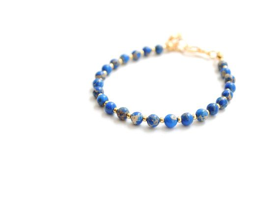 Blue bracelet friendship bracelet gemstone by elfinadesign on Etsy
