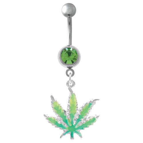 belly button rings | Sexy Glow In The Dark Pot Leaf Belly Button Rings