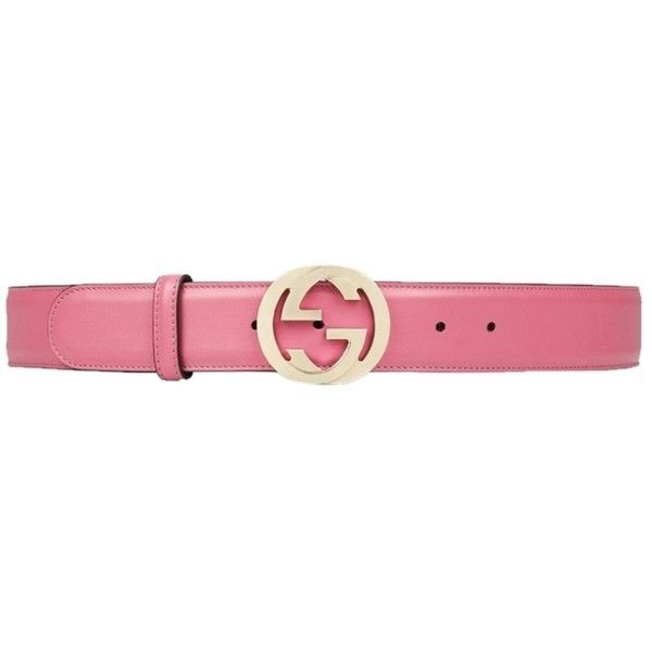 Pre-owned Pink Gucci Leather Belt With Interlocking Ggs (930 PEN) ❤ liked on Polyvore featuring accessories, belts, pink studded belt, gucci, gucci belt, leather belt and leather buckle belt