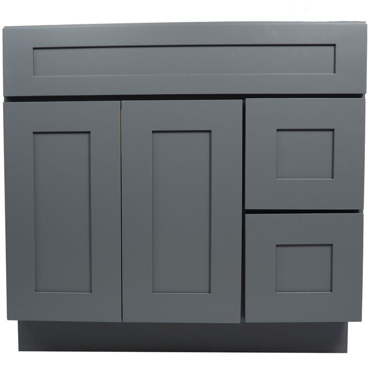 36 Inch Bathroom Vanity Single Sink Cabinet In Shaker Gray With Soft Close Drawers Amp Doors 36