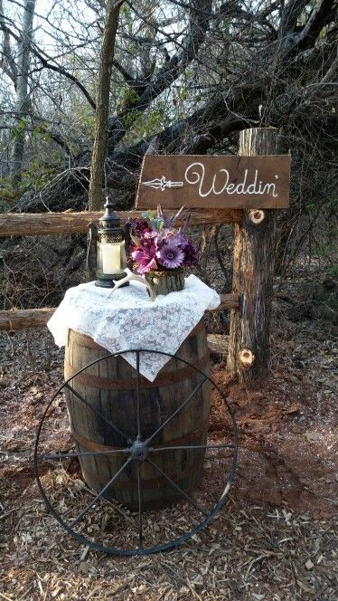 Rustic/Country Trail Front Barrel Decor. Lantern, Antler, Bark Covered Vase, Lace, Wedding Sign, Barrel, Wagon Wheel.