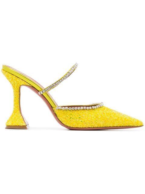 bea9113cbe4f Shop Amina Muaddi Gilda 95 leather glitter crystal mules