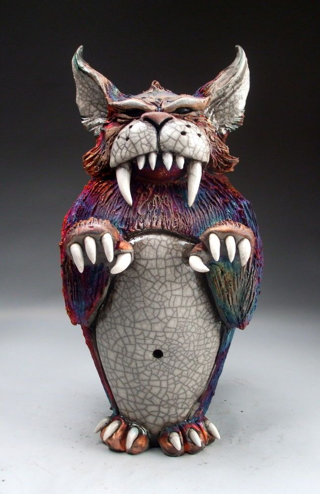 Abominable House Cat raku pottery sculpture by face jug maker Grafton
