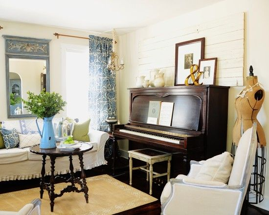I Really Like The Mix Of Furniture In This Room White Slipcovers With Dark Wood Piano Love Trumeau Mirror Curtains Are House Ideas