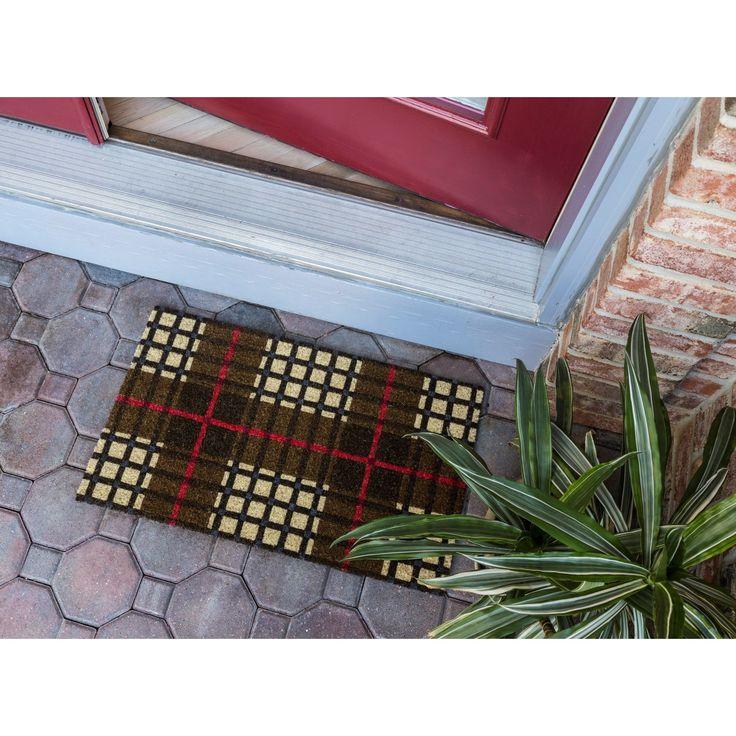 Plaid Coir Nonslip Doormat, Multi