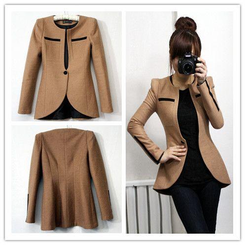 2014 Spring slim woolen suit double long design suit outerwear women's camel suits women blazers