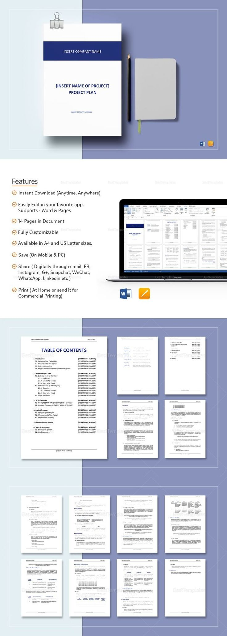 Project Plan Template - $25 Formats Included :MS Word, Pages File Size :8.27x11.69 Inchs, 8.5x11 Inchs Pages :14