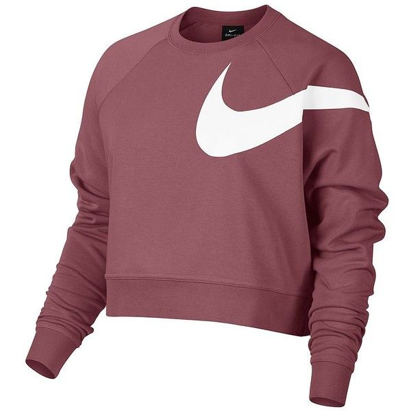 Nike Women's Dry Training Cropped Top ($49) ❤ liked on Polyvore featuring tops, red, red crop top, nike, raglan sleeve top, long-sleeve crop tops and crew neck tops