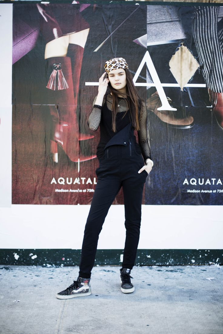 Up-and-coming instagirl Phoebe rocked the Orbit Pant for fashion and function at NYFW 2016—staying cool in a mesh top and a statement bandana between shows.
