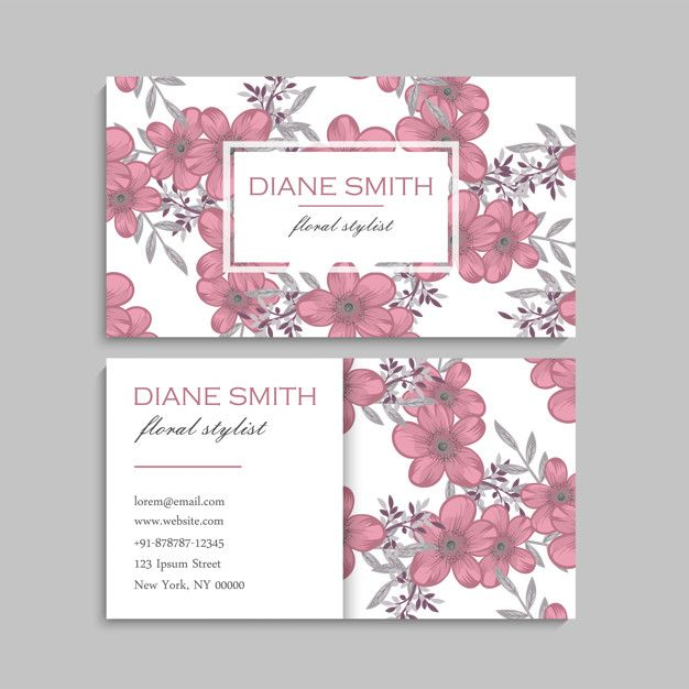 Download Business Card With Beautiful Flowers For Free Business Cards Creative Download Business Card Floral Wedding Invitation Card