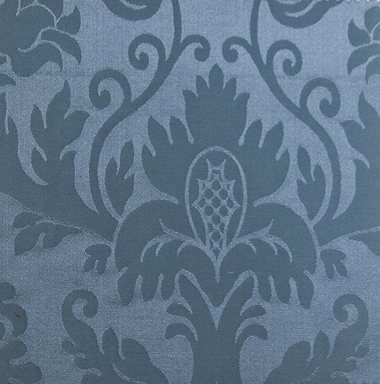 Minster Damask Fabric  Silk damask curtain fabric in steel blue.