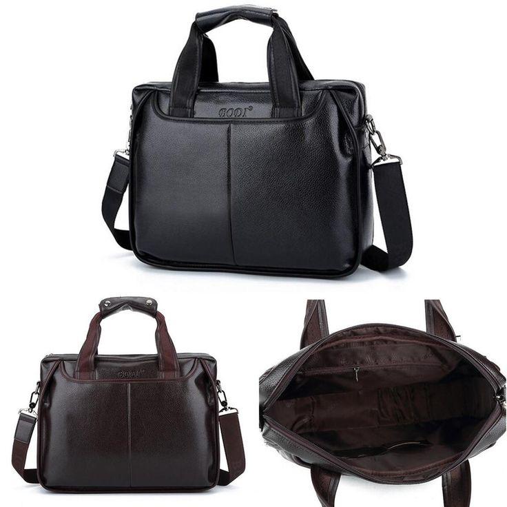 Men Laptop Business PU Leather Handbag Briefcase Shoulder Bag for MacBook Sale - Banggood.com