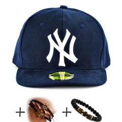 Beyaz Yazılı Lacivert Koyu Renk 1.KALİTE Kumaş Hiphop NY ŞAPKA CAP Bayan Erkek Şapkası