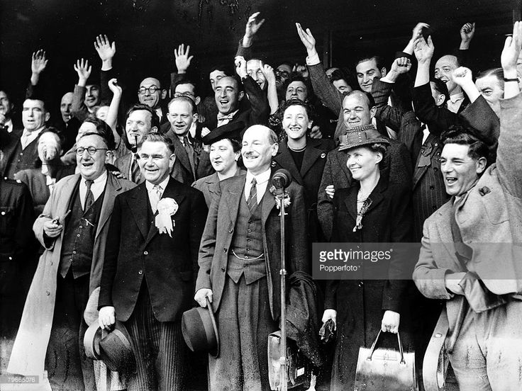 World War II, 26th July 1945, London, England, Clement Attlee all smiles at the microphone after being re-elected as MP for Limehouse, Stepney