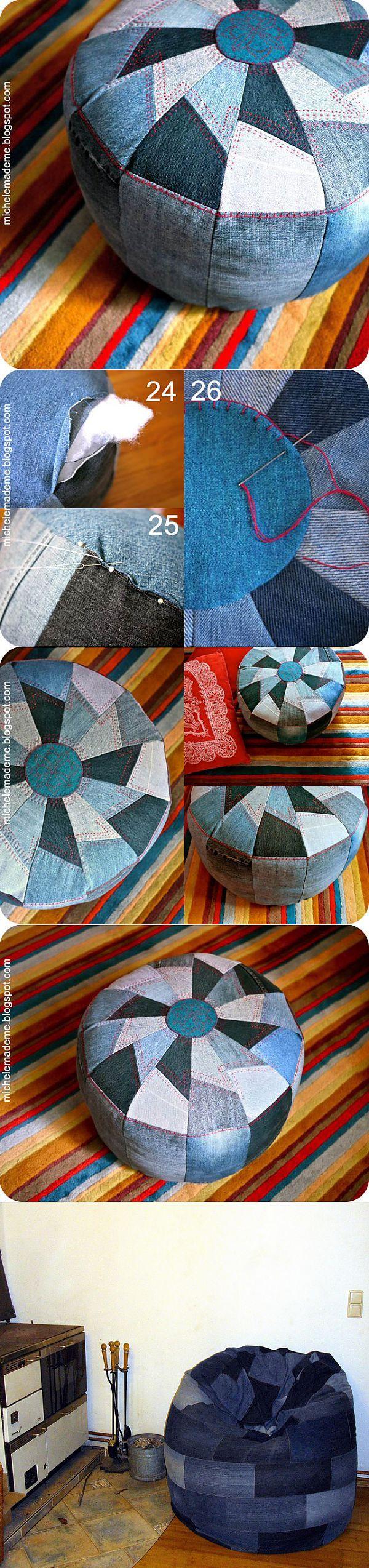 Марокканский пуф из джинсов + 1 (DIY) / Мебель / ВТОРАЯ УЛИЦА