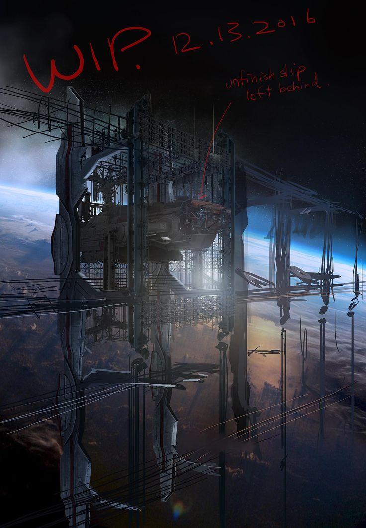 Ferrous Corp shipyard (Dark Matter) - concept art by Henry Fong