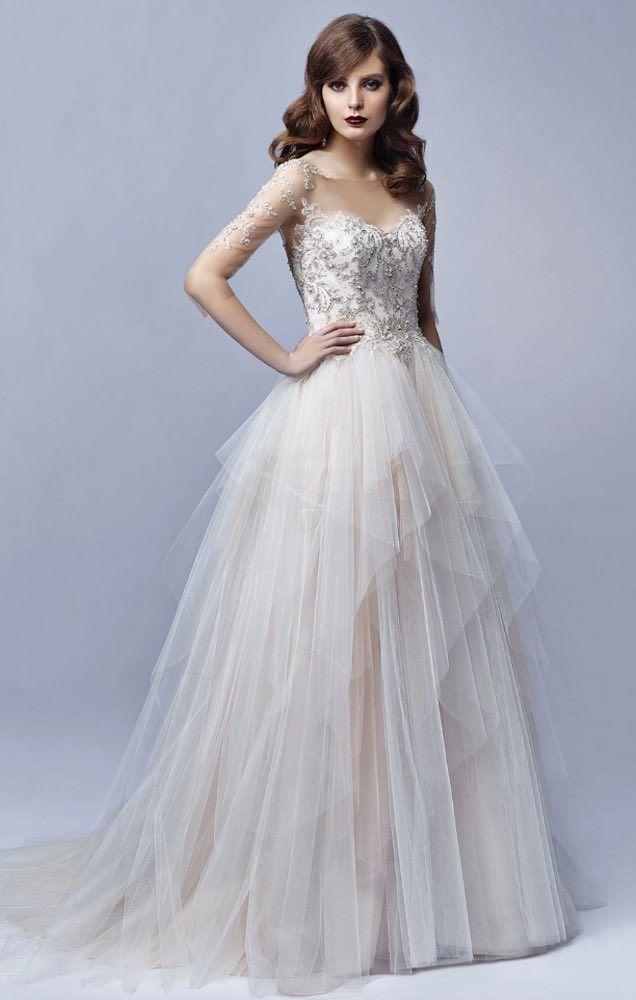 Sheer Illusion Bateau Neckline Tulle Skirt Wedding Dress Wedding