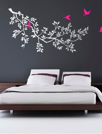 Wall stickers!: Birds Wall, Wall Art, Wall Decals, Wall Stickers, Green Birds, Spring Branches, Bedrooms Decor, Trees Wall, White Wall