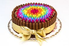 I'm going to do this for Mia's birthday cake! Really Easy Chocolate Rainbow Smarties Cake