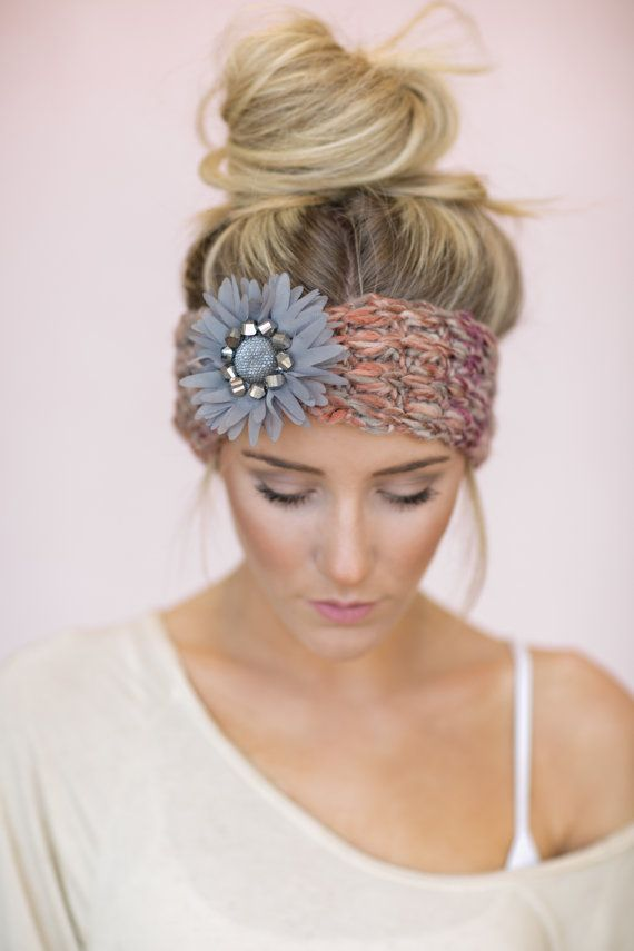 Hippie Headband Knitting Pattern : Gray Boho Knitted Headband CUTE Hair Bands Knit by ...