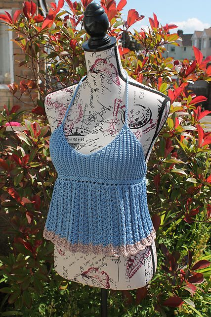 Ravelry: Ribbed Bust Halter Neck Top pattern by Thomasina Cummings Designs