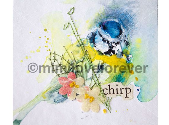 Bird Art. Blue Tit Watercolour Painting. Hand embroidery.