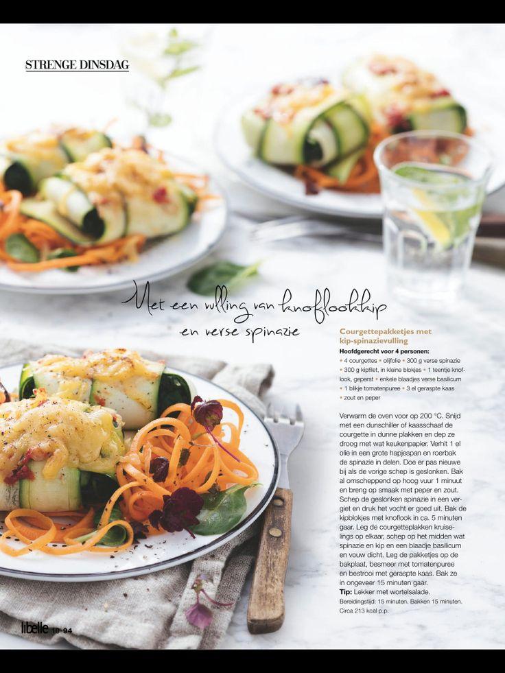 Courgette kip spinazie. Uit de Libelle van foodsisters