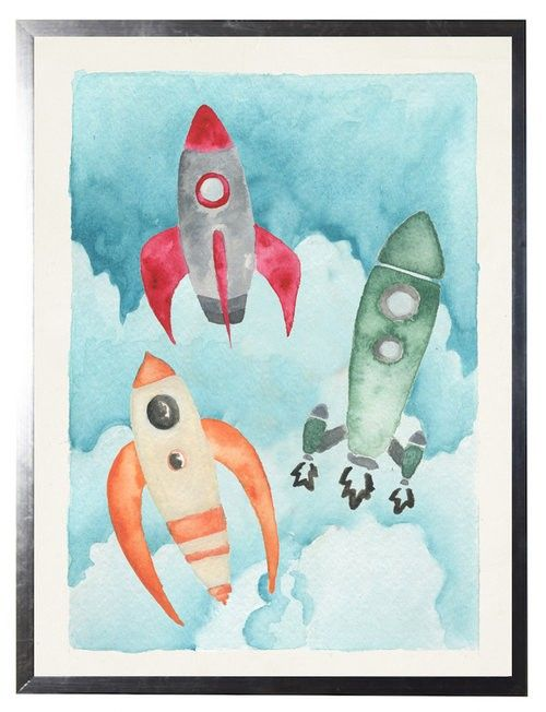 Watercolor Rocket Ships Children's Wall Art - Available in Three Different Sizes