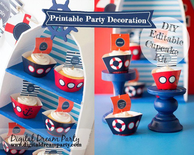 Adorable sailboat cupcake kit printable