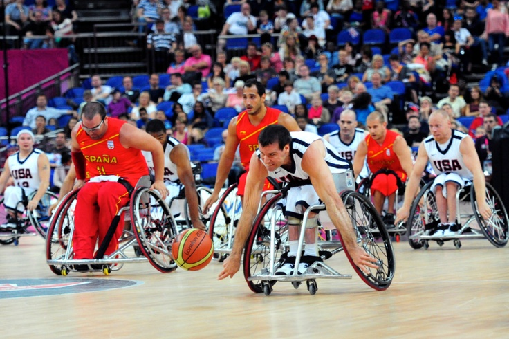 USA races Spain to the ball at the 2012 London Paralympic Games