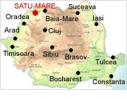 Satu Mare on map - Romania Physical Map