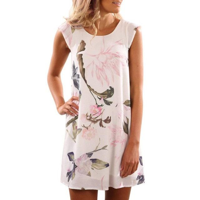 Summer Dress Women Sleeveless Chiffon Floral Print Party Beach Mini Dress