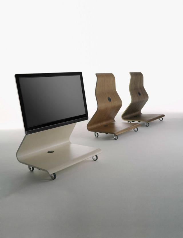 flachbild fernseher-design tv ständer-aus holz-geformt