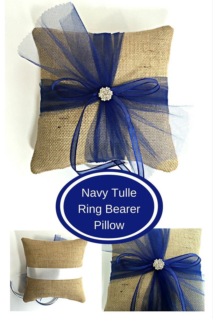 This Navy Tulle Ring Bearer Pillow is a beautiful way to combine Rustic Burlap with an elegant twist. With Navy Tulle, Navy Ribbons and a rhinestone button, this burlap ring pillow is a great choice for your Navy themed wedding. www.sherisewsweet.etsy.com